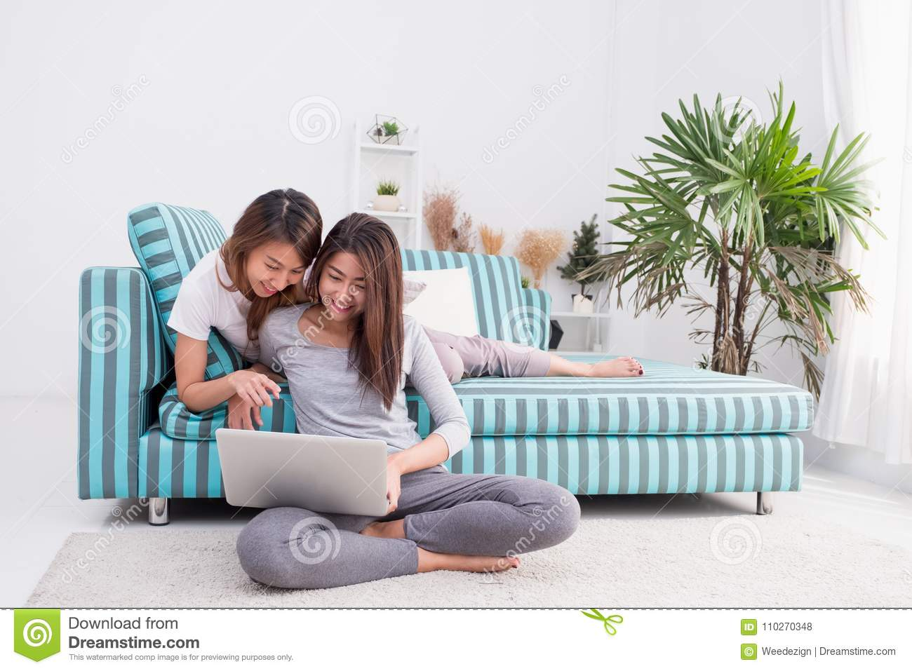 Groovy Two Asia Woman Using Laptop Computer To Shopping Online And Squirreltailoven Fun Painted Chair Ideas Images Squirreltailovenorg