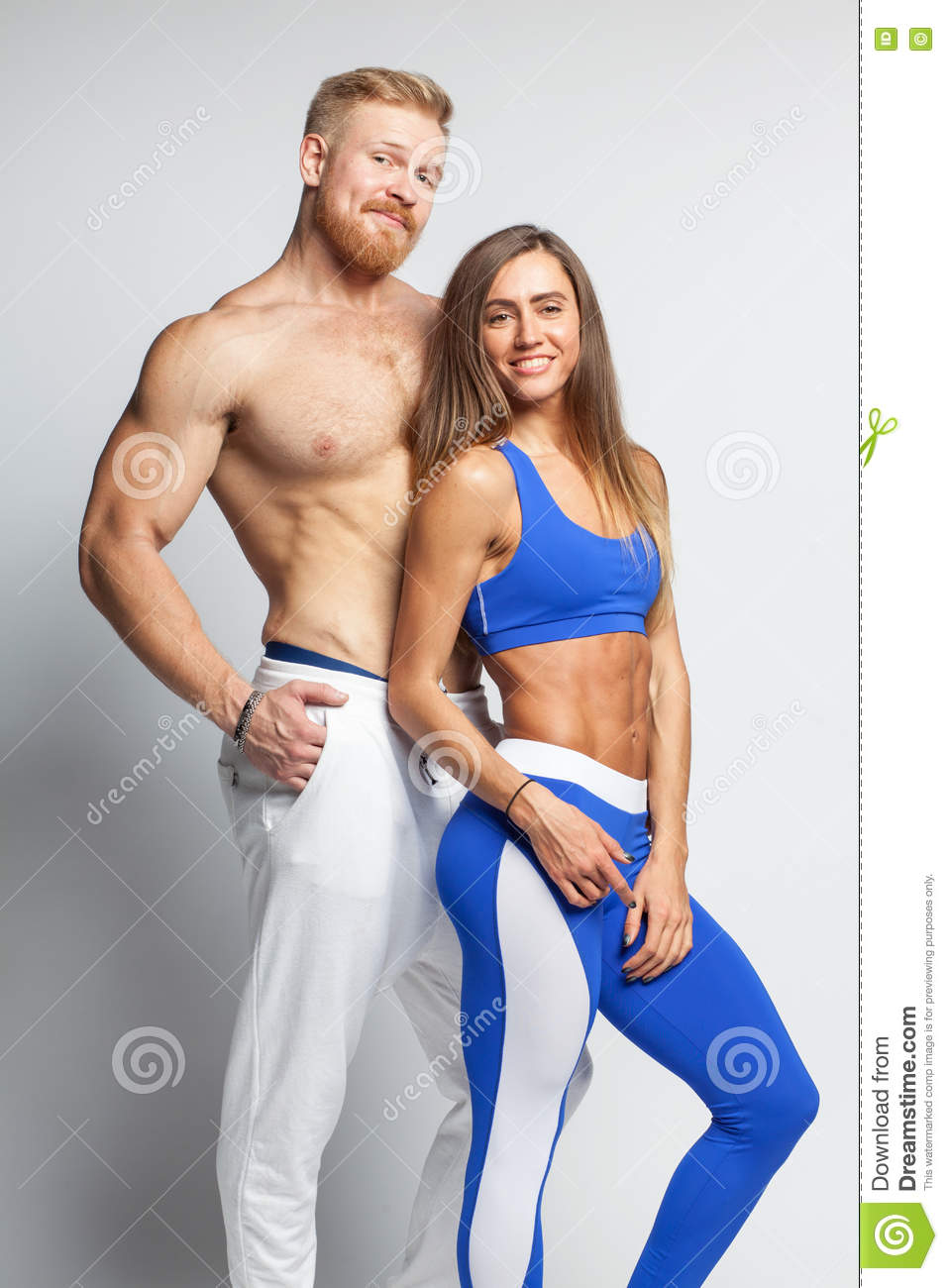 two athletic young people man and woman stock image image of white fitness 80087925. Black Bedroom Furniture Sets. Home Design Ideas