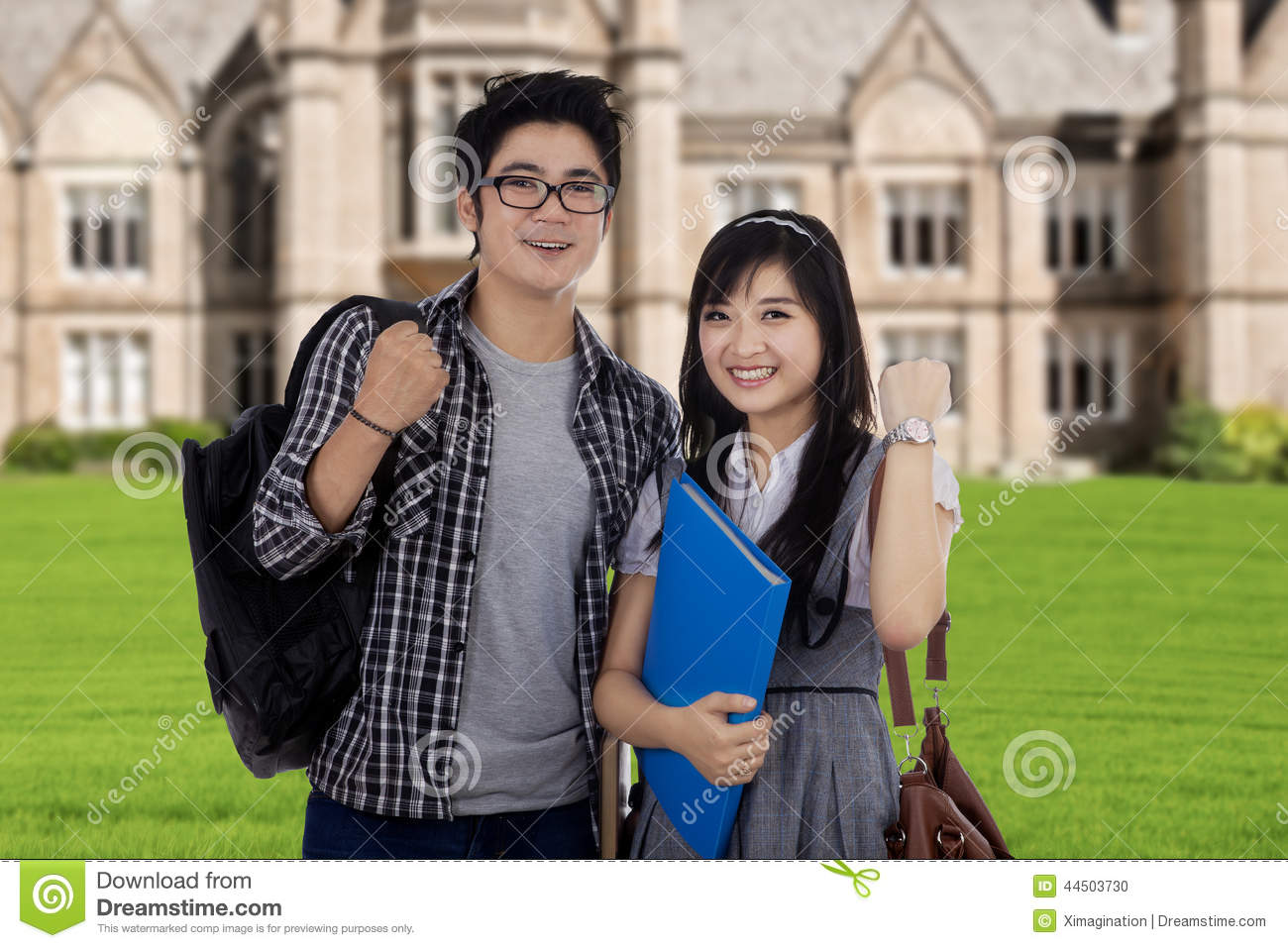 Two Attractive Students Expressing Success Stock Photo ...