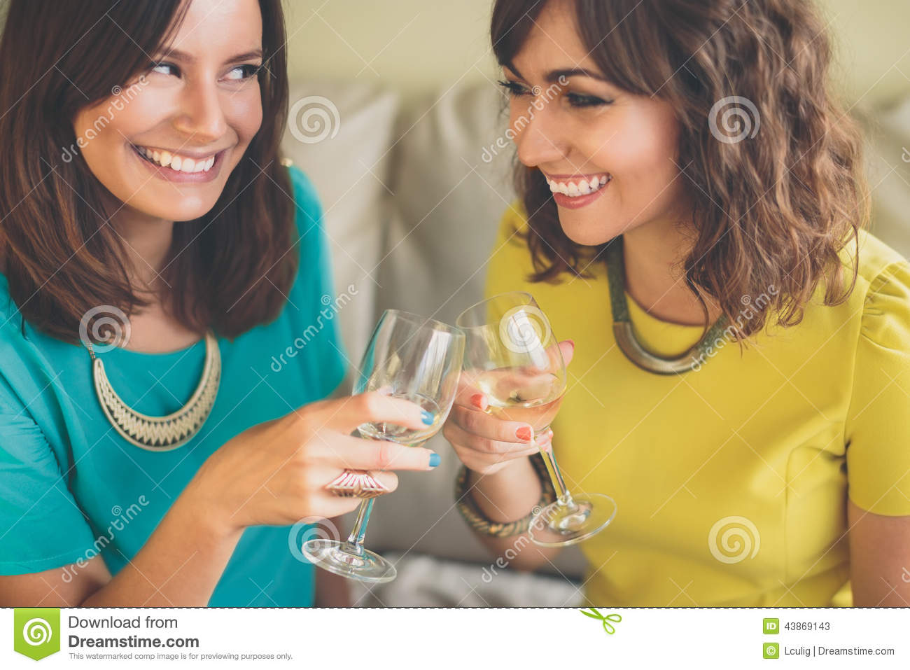 Two Attractive Woman Toasting With Champagne Stock Photo