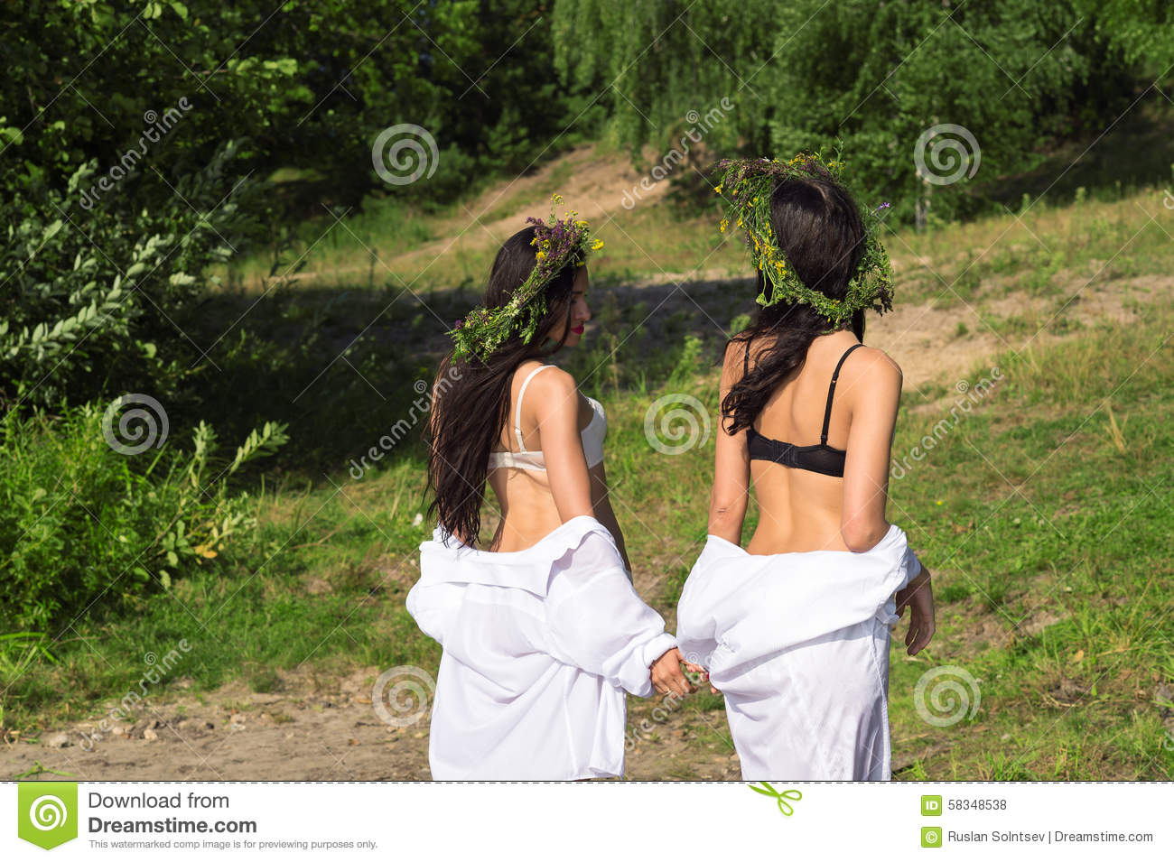 Two Attractive Women Out Of The Water Stock Photo Image