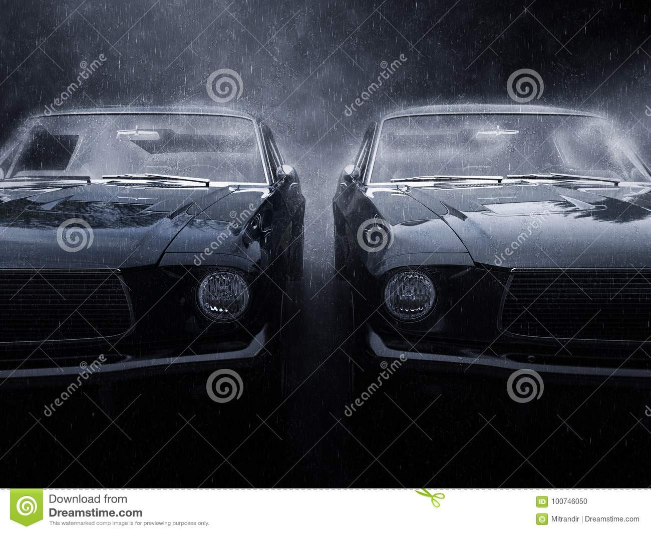 Two Awesome Black Vintage Muscle Cars Side By Side Stock Illustration Illustration Of Retro Powerful 100746050