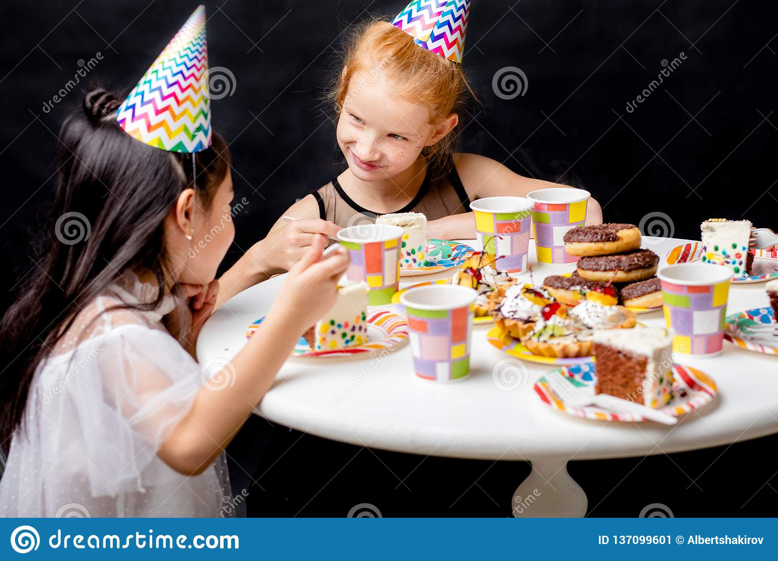 Super Two Awesome Girl Talking While Eating Birthday Cake Stock Image Funny Birthday Cards Online Inifofree Goldxyz