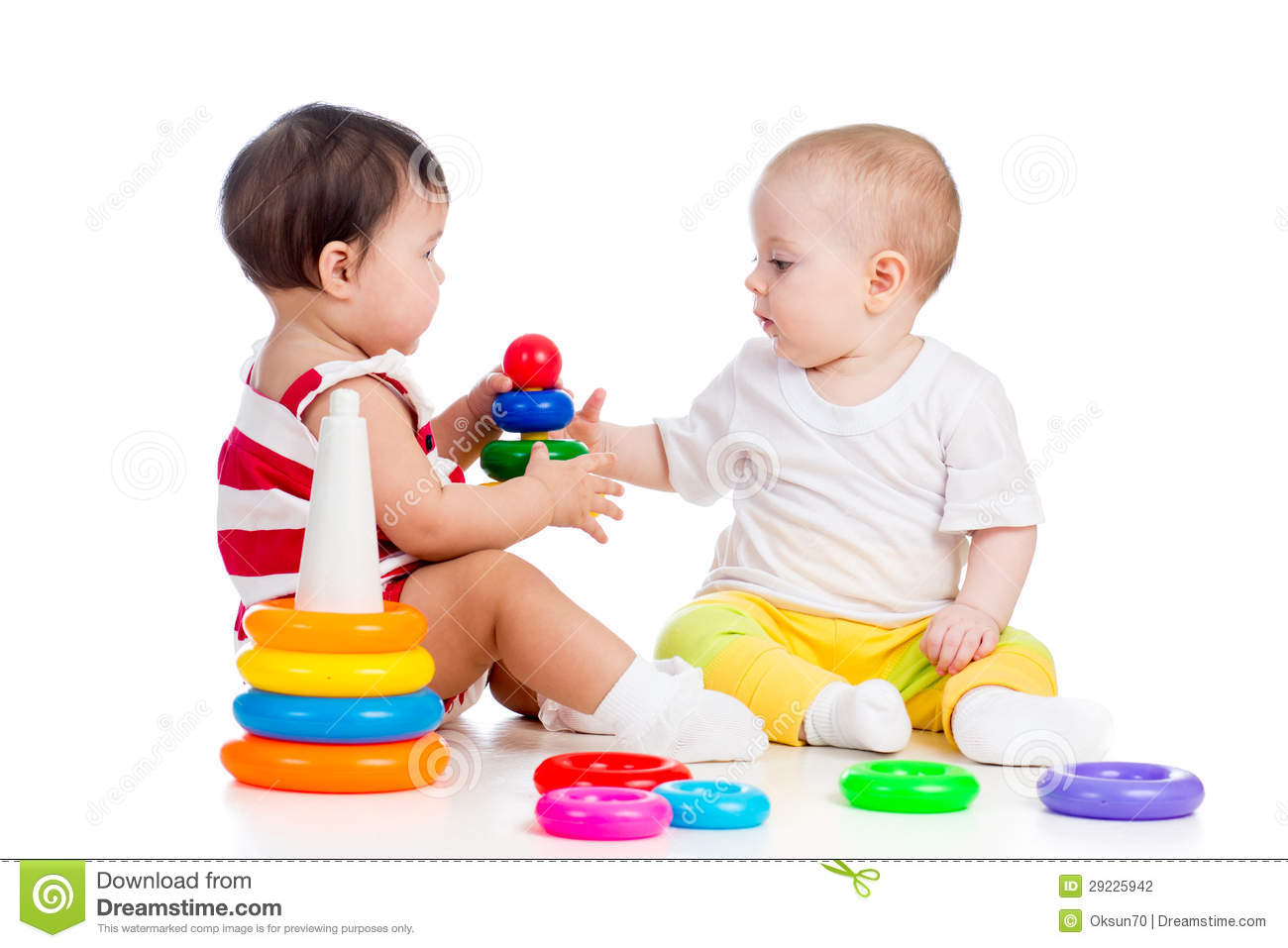 Toddler Toys Photography : Two babies girls playing stock photo image of building