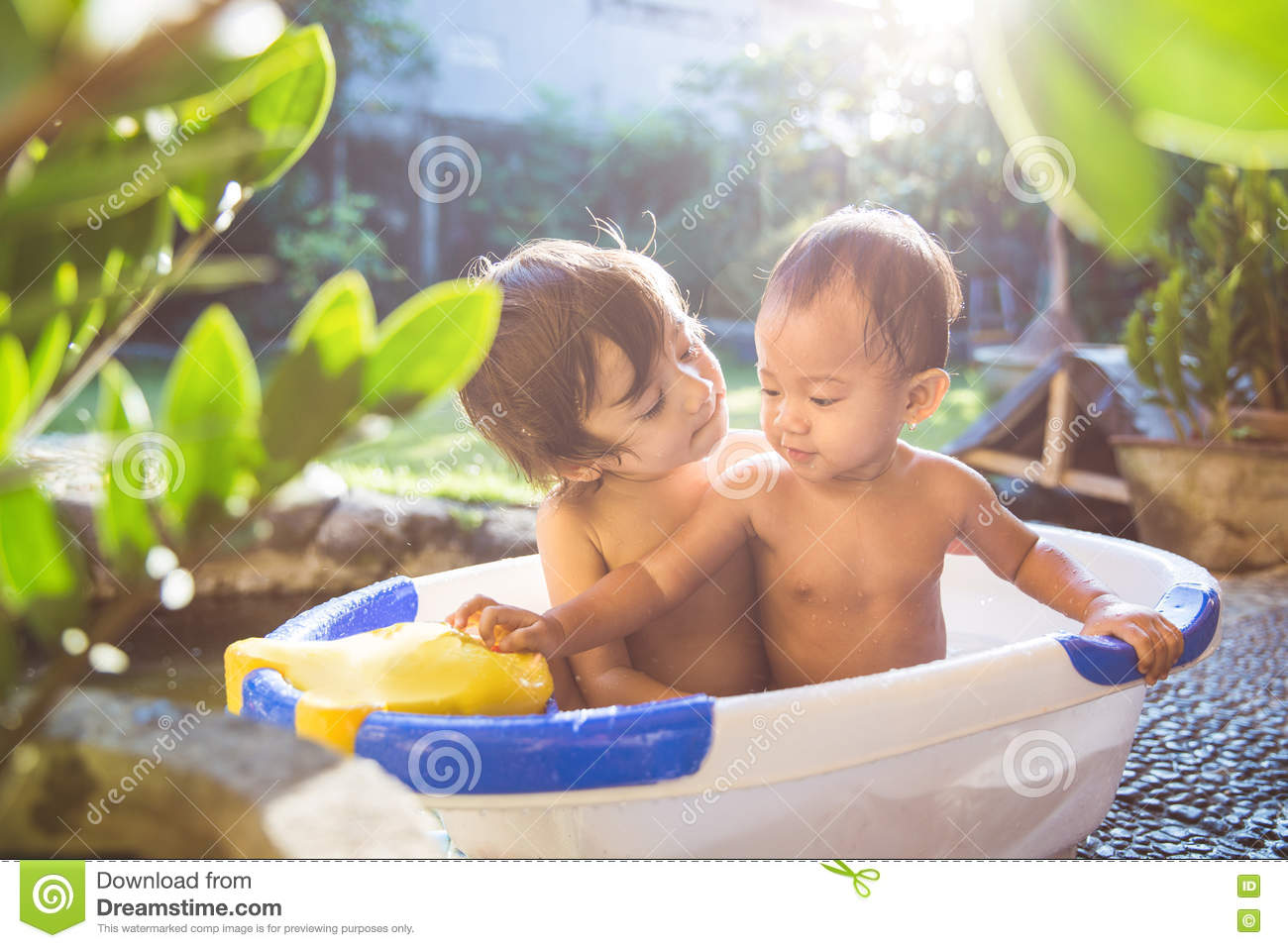Two Babies Taking A Bath Together Stock Image - Image of baby ...