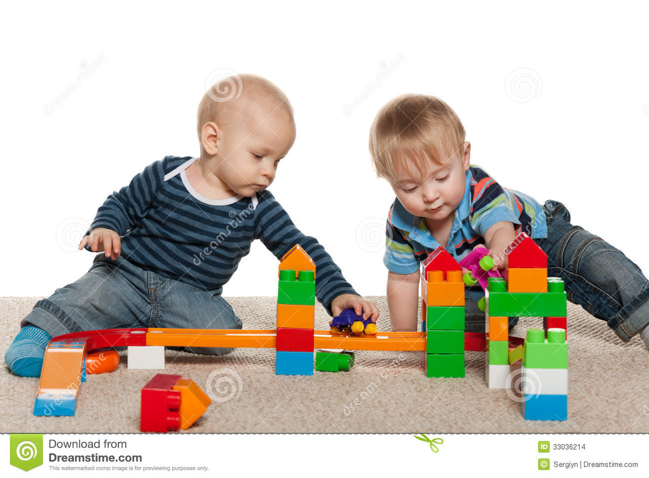 Two Baby Boys Are Playing Stock Images Image 33036214