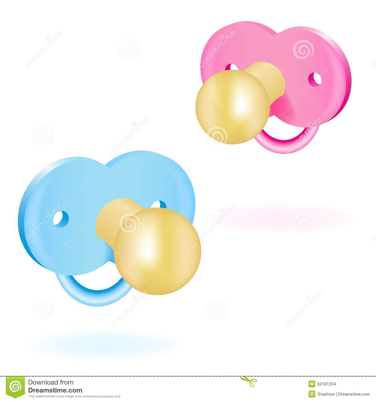 Two Baby's Dummy Pink And Blue. Vector Illustration Stock