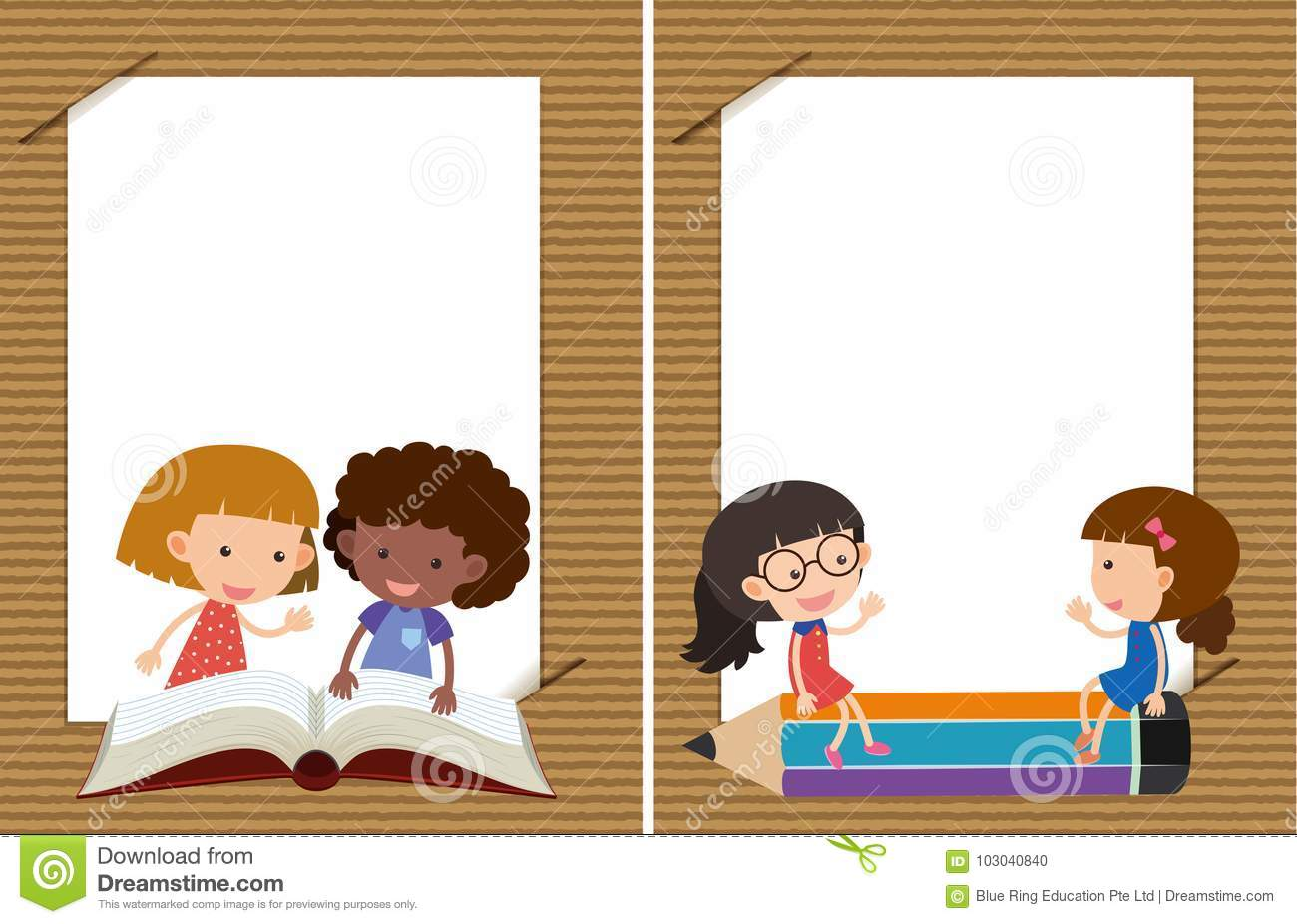 two background templates with girls reading stock vector