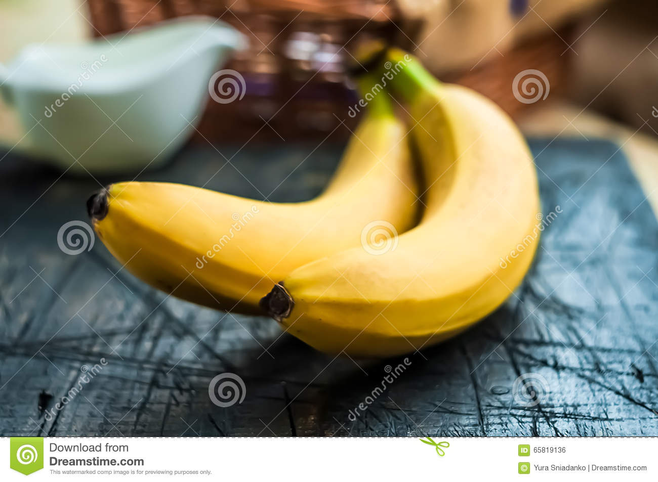 Banana On Table Two bananas on the table