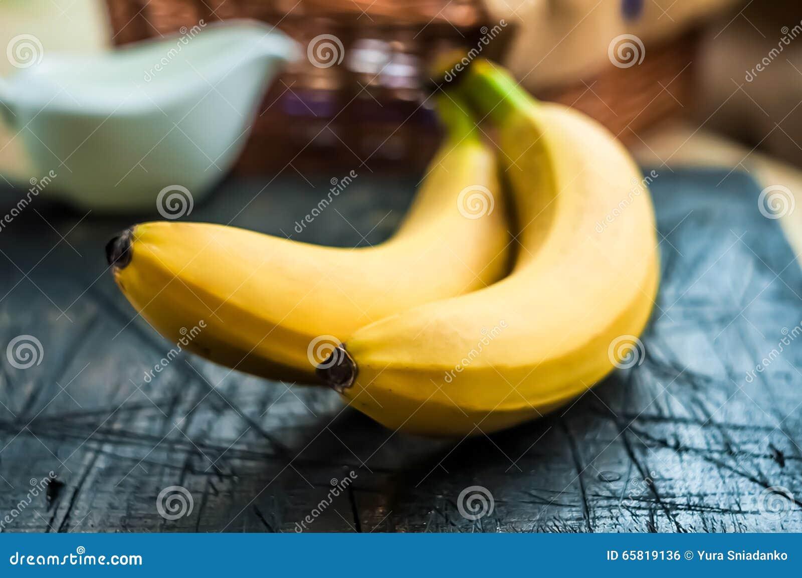 Banana On Table Two Bananas On The Table