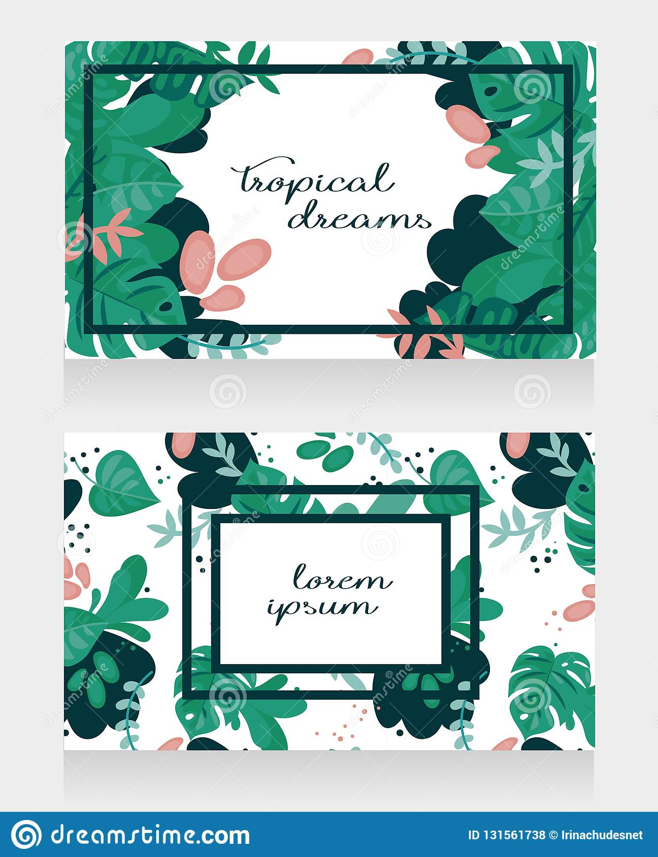 Two Banners With Tropical Design Stock Vector Illustration