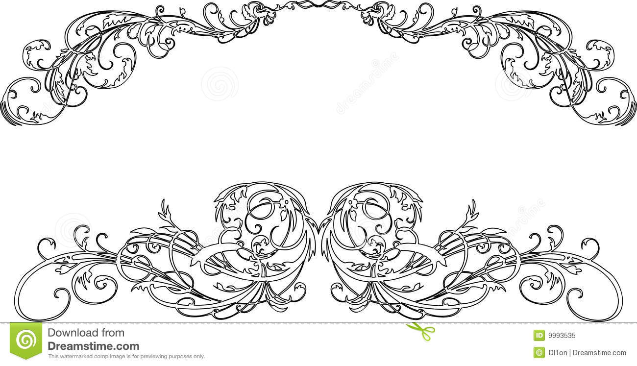 Two Baroque Calligraphy Curves Royalty Free Stock Photo