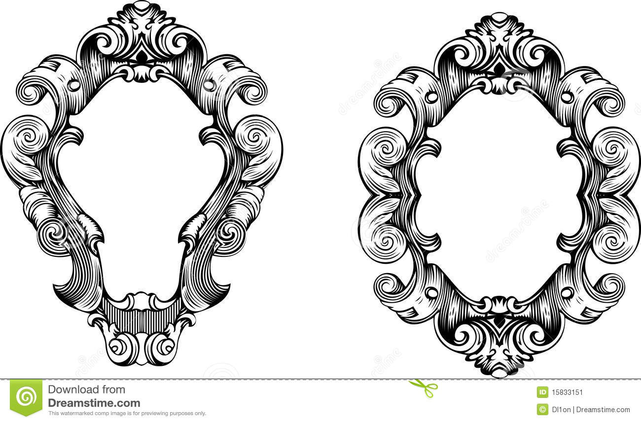 two baroque ornate curves engraving frames stock image
