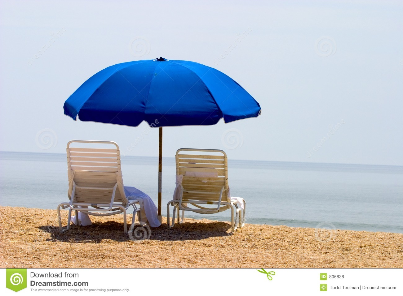 Beach chair and umbrella on the beach - Two Beach Chairs And Umbrella Royalty Free Stock Photos