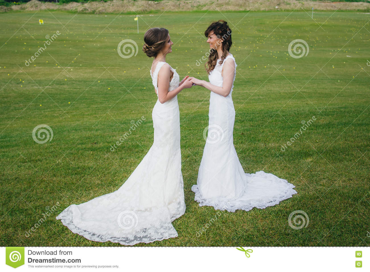 Two beautiful brides holding hands on the green field