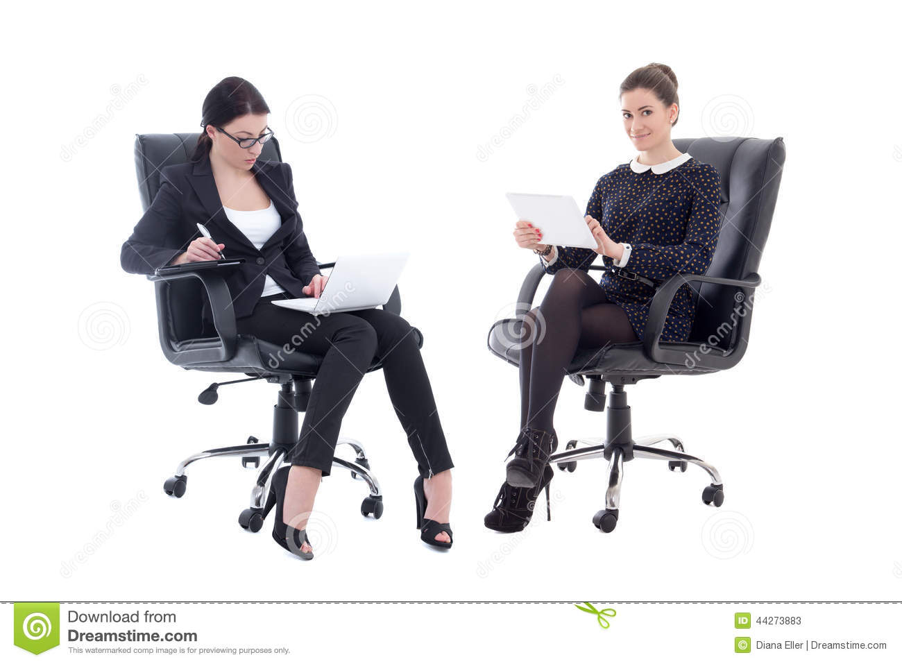 Two beautiful business women sitting on office chairs with tablet pc and  laptop on white background 07088379b
