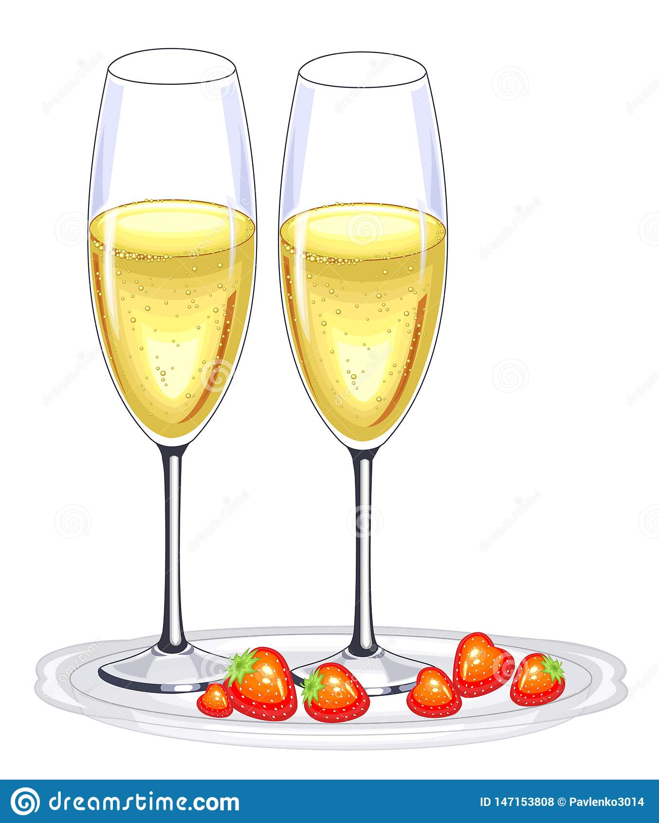 Two beautiful crystal glasses of champagne wine and red strawberries. Decoration of the festive table for the New Year, Christmas