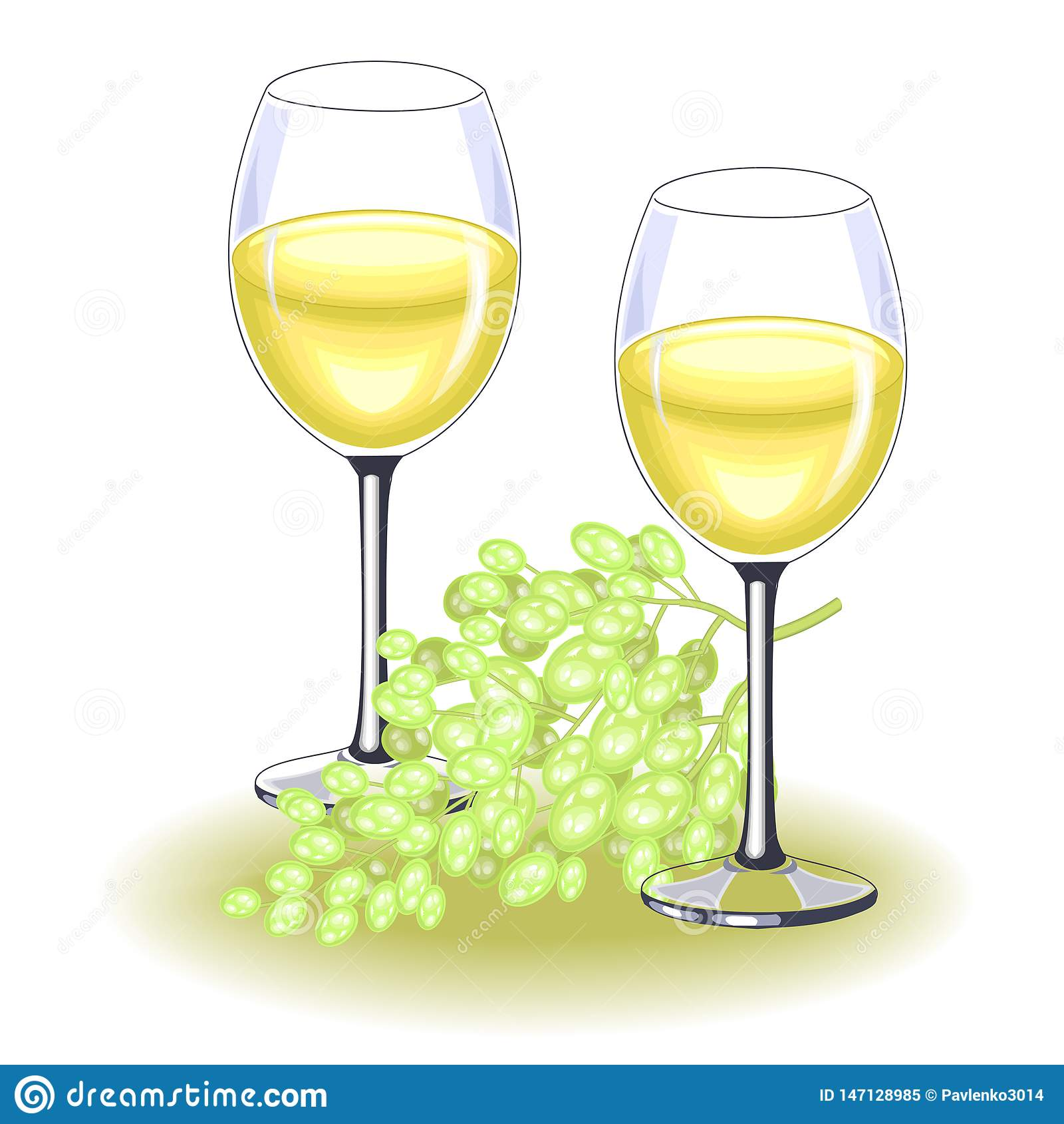 Two beautiful crystal glasses with delicious white wine. A ripe bunch of grapes. Decoration of the festive table. Vector