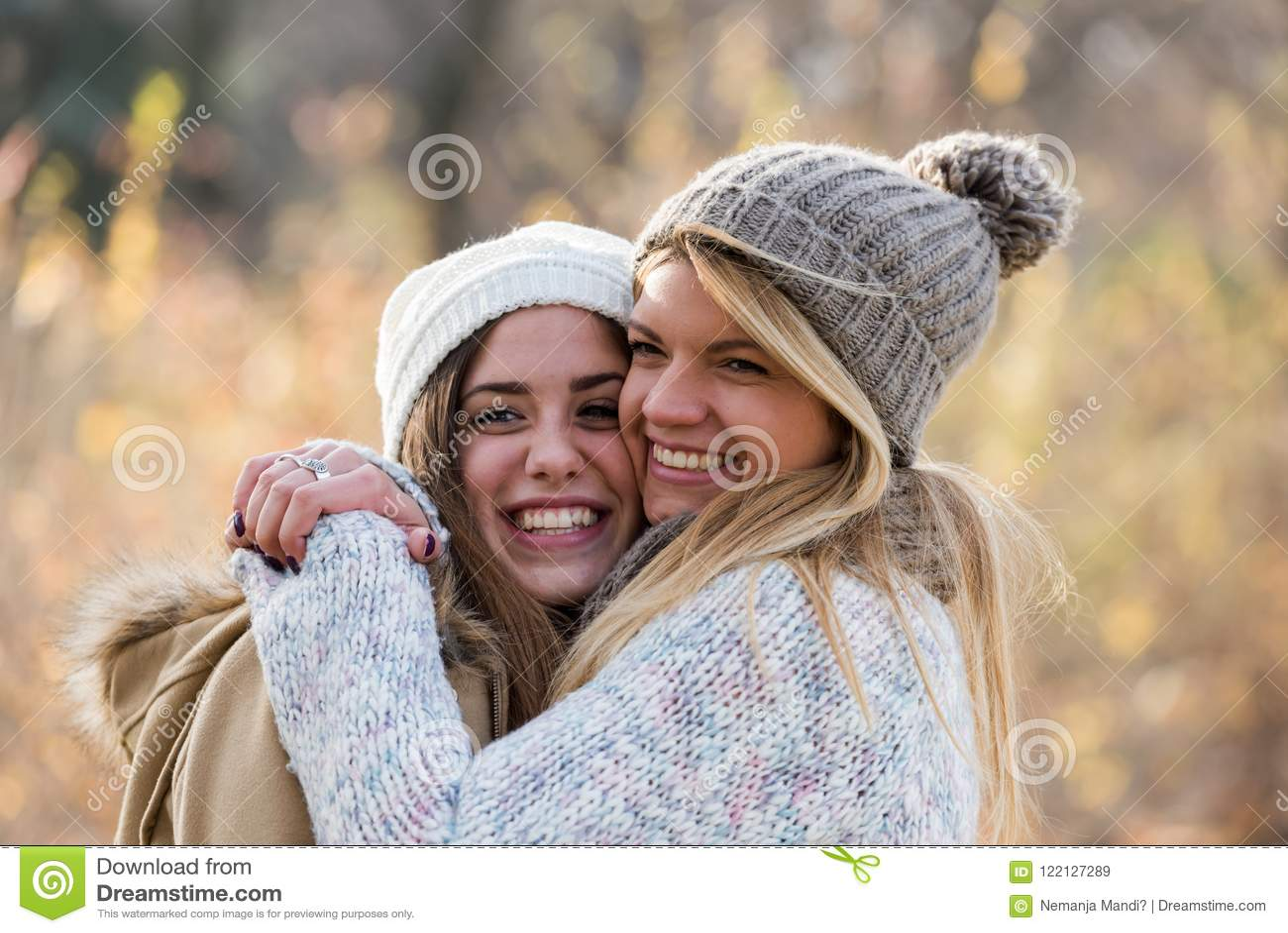 Two Beautiful Girls Hugging Friendship Stock Image Image Of Smiling Teenage 122127289