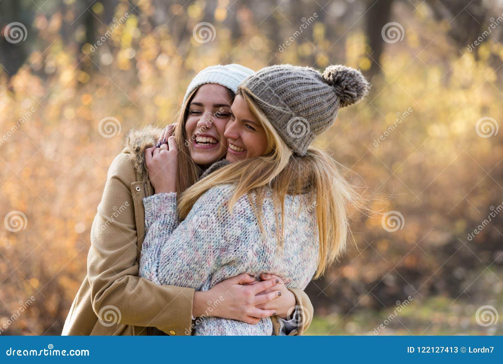 Two Beautiful Girls Hugging Friendship Stock Image Image Of Beautiful Smiling 122127413