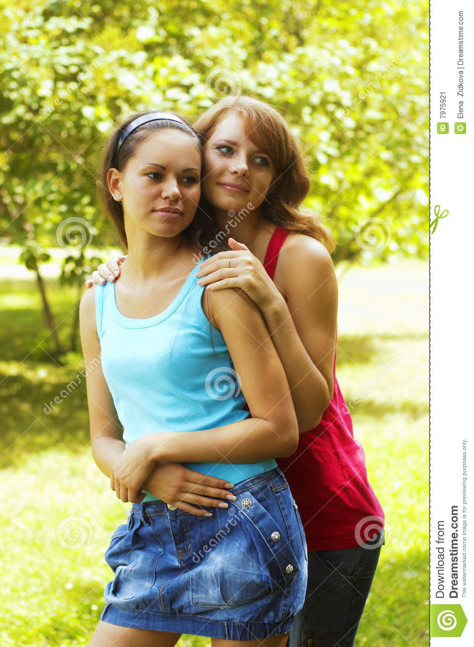 Two beautiful girls in park