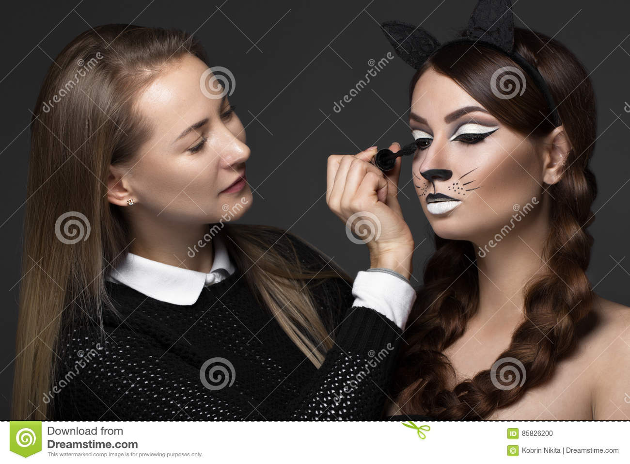 Two Beautiful Girls On Photo Shoot To Apply Face Makeup