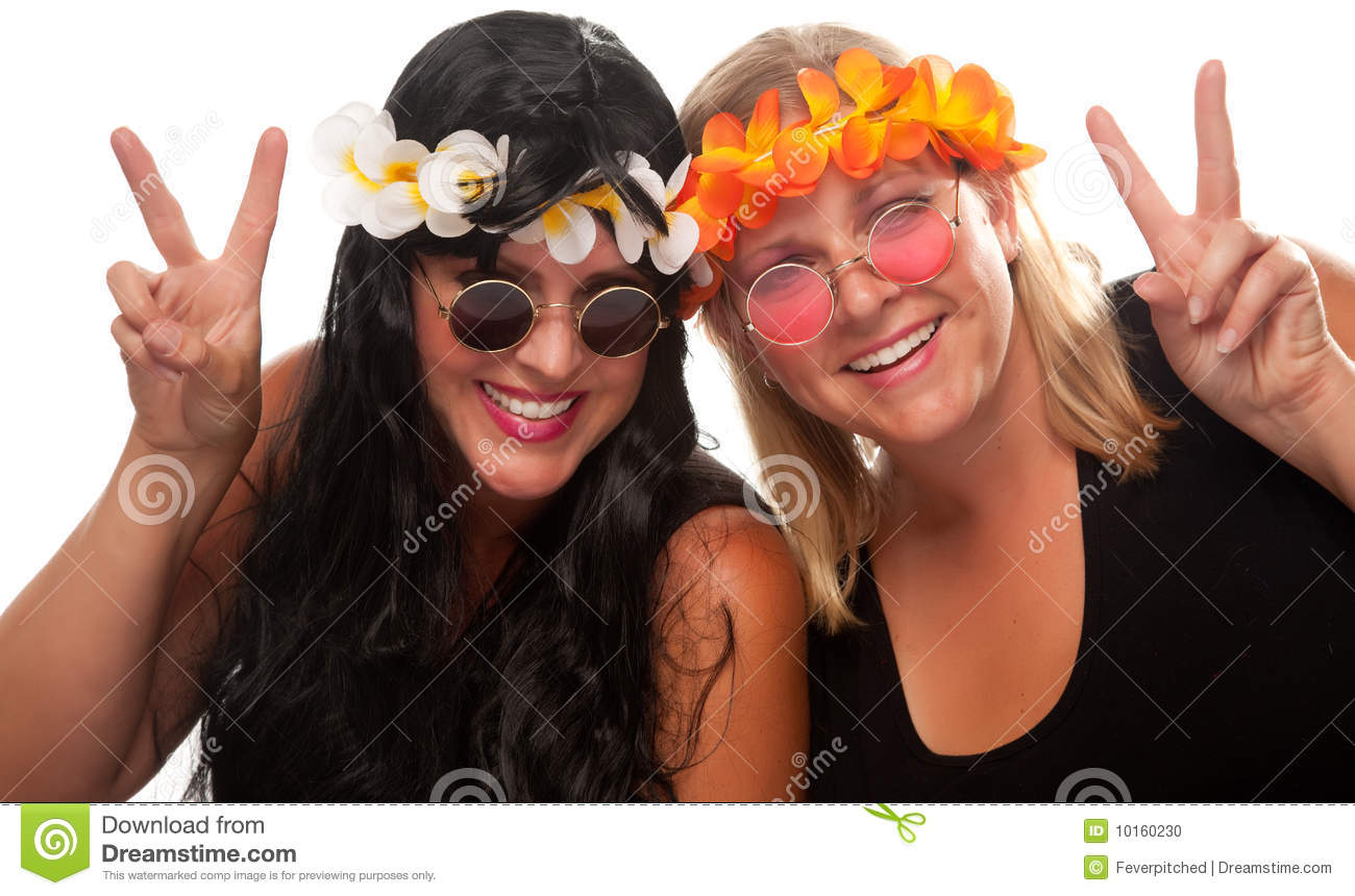 Two Beautiful Hippie Girls with Peace Signs