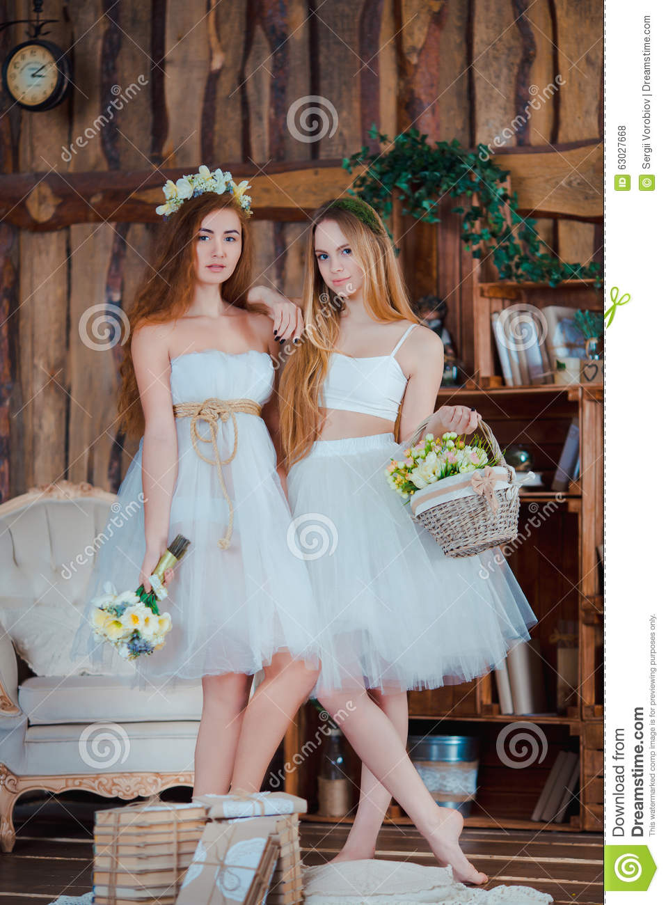 Two Beautiful Sensual Brides Standing In Vintage Stock Photo Image
