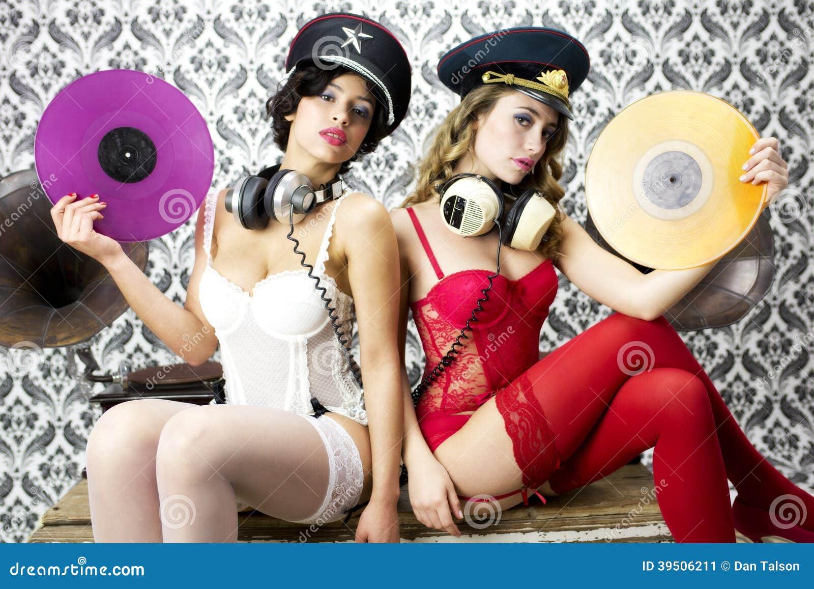 Two beautiful disco women