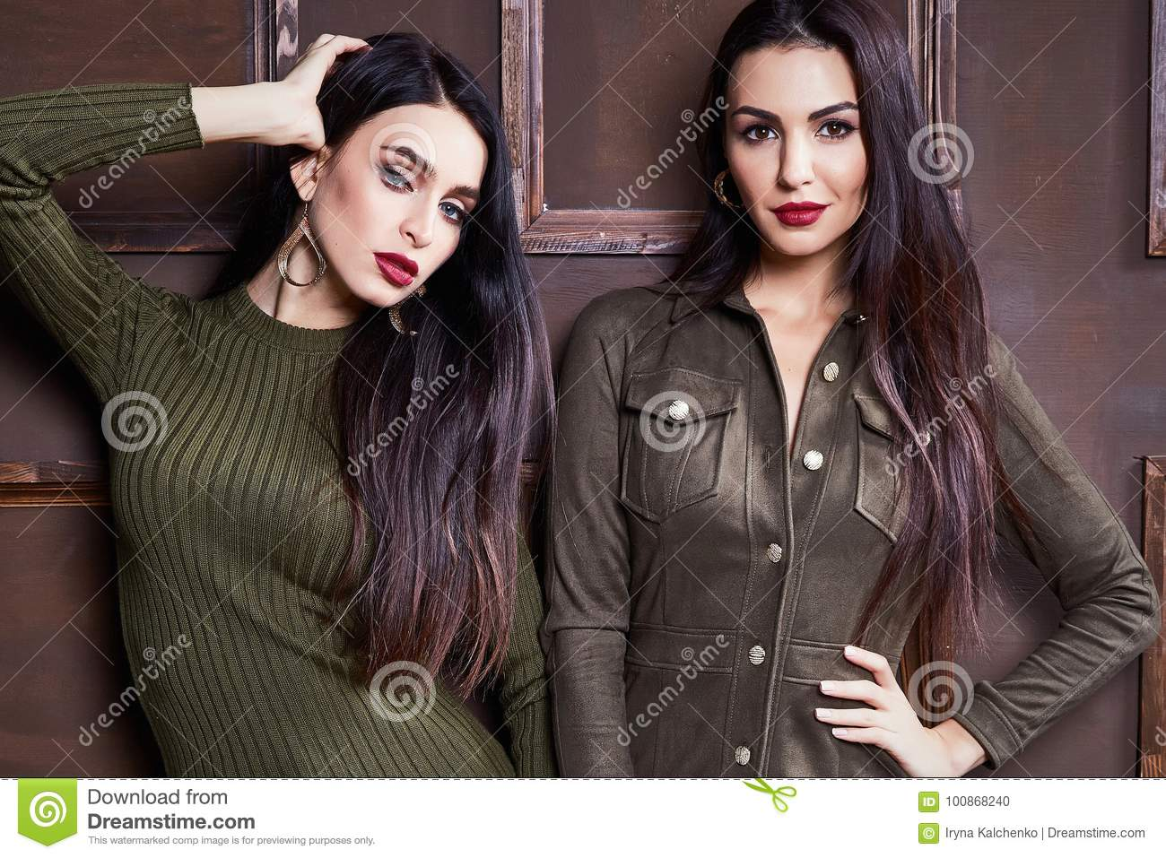 Hair Style Jeans: Two Beautiful Woman Brunette Hair Wear Fashion Clothes