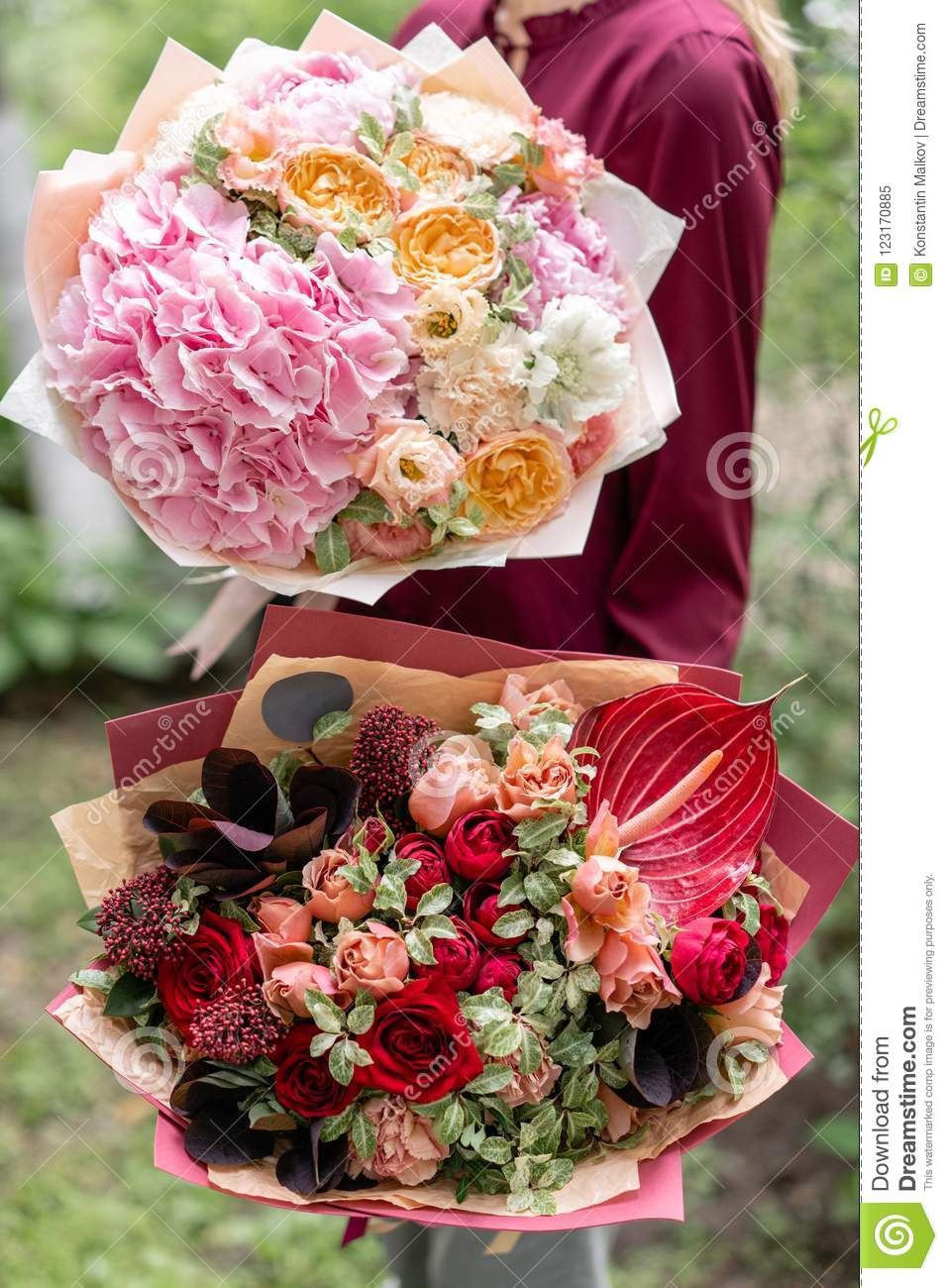 Two Beautiful Summer Bouquet Arrangement With Mix Flowers Young