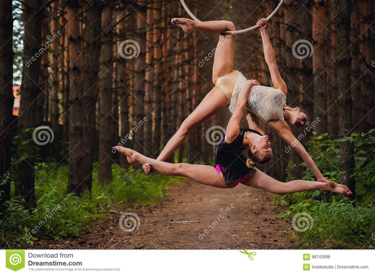Two Beautiful Teen Gymnasts Doing Exercises At The Air Ring In The ...