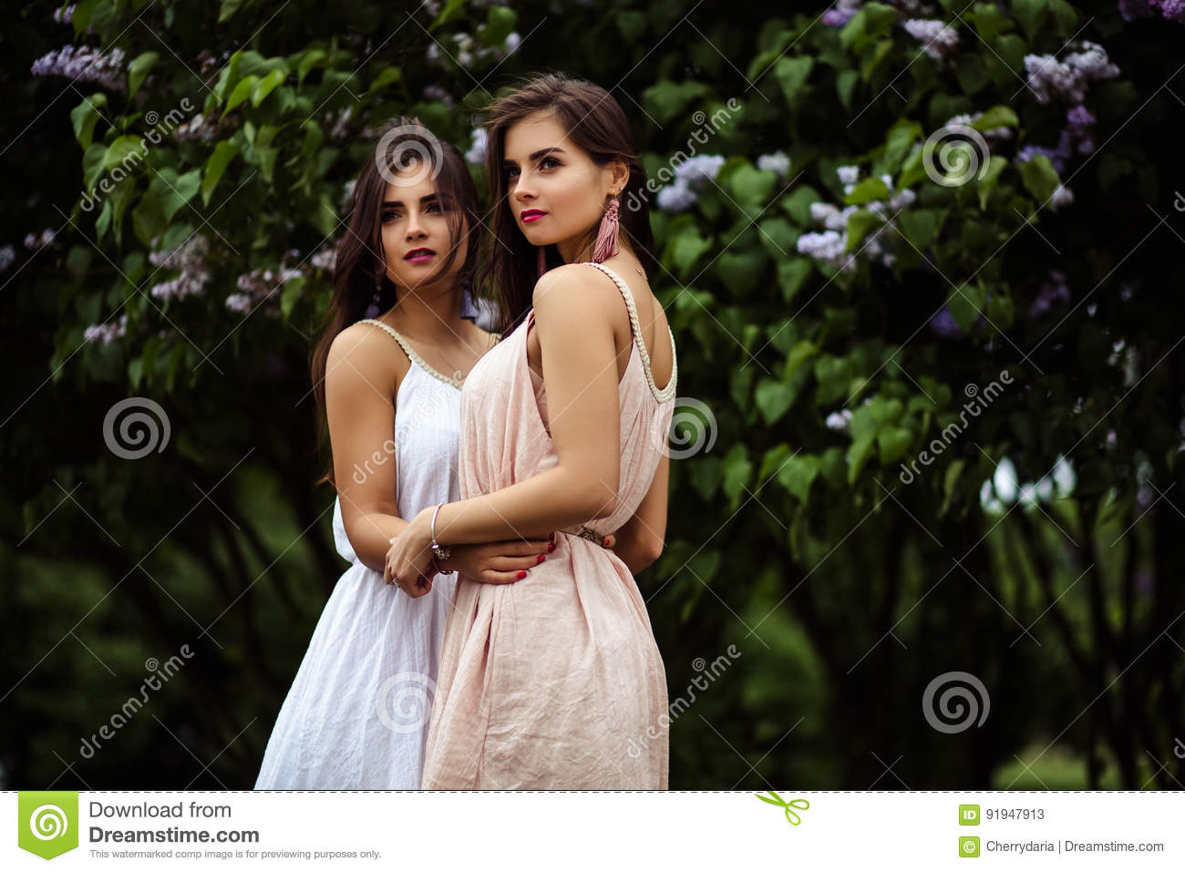109ae9a4d12 Two beautiful twins young women in summer dresses near blooming lilac