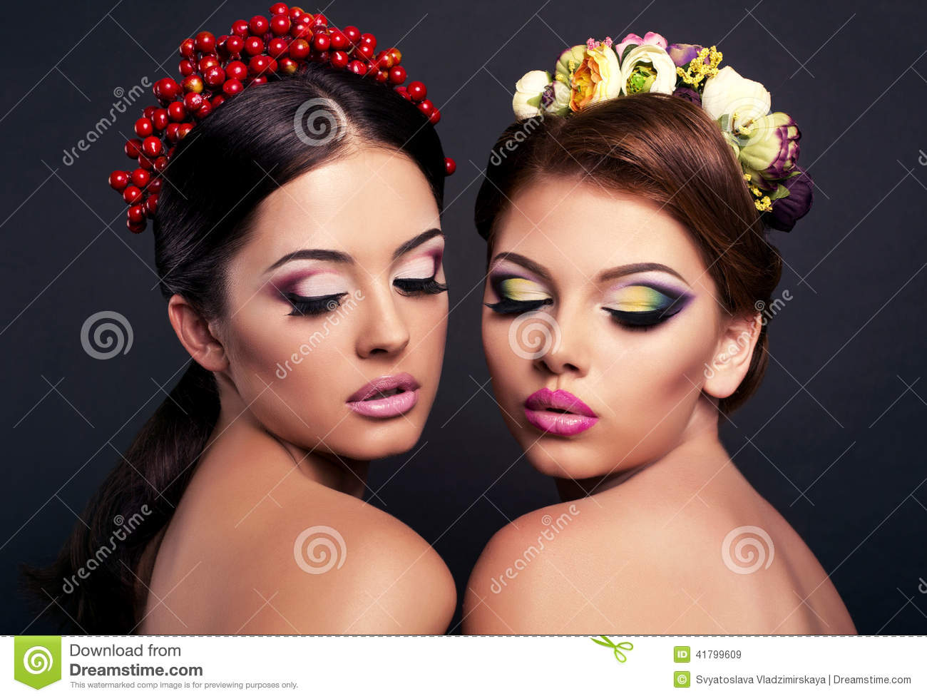 Fashion photo of two beautiful girls with bright makeup and flower s hair  accessories 285868cbea3