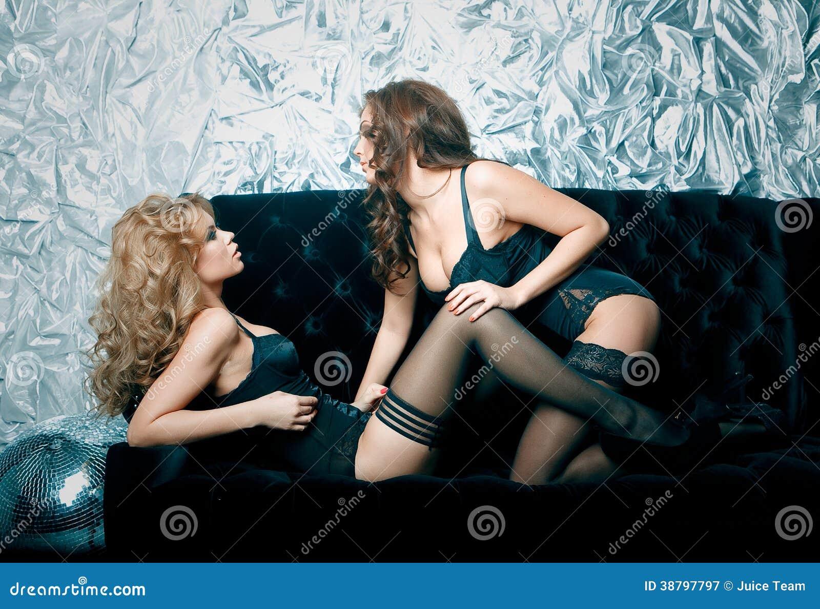 Lesbians on sofa
