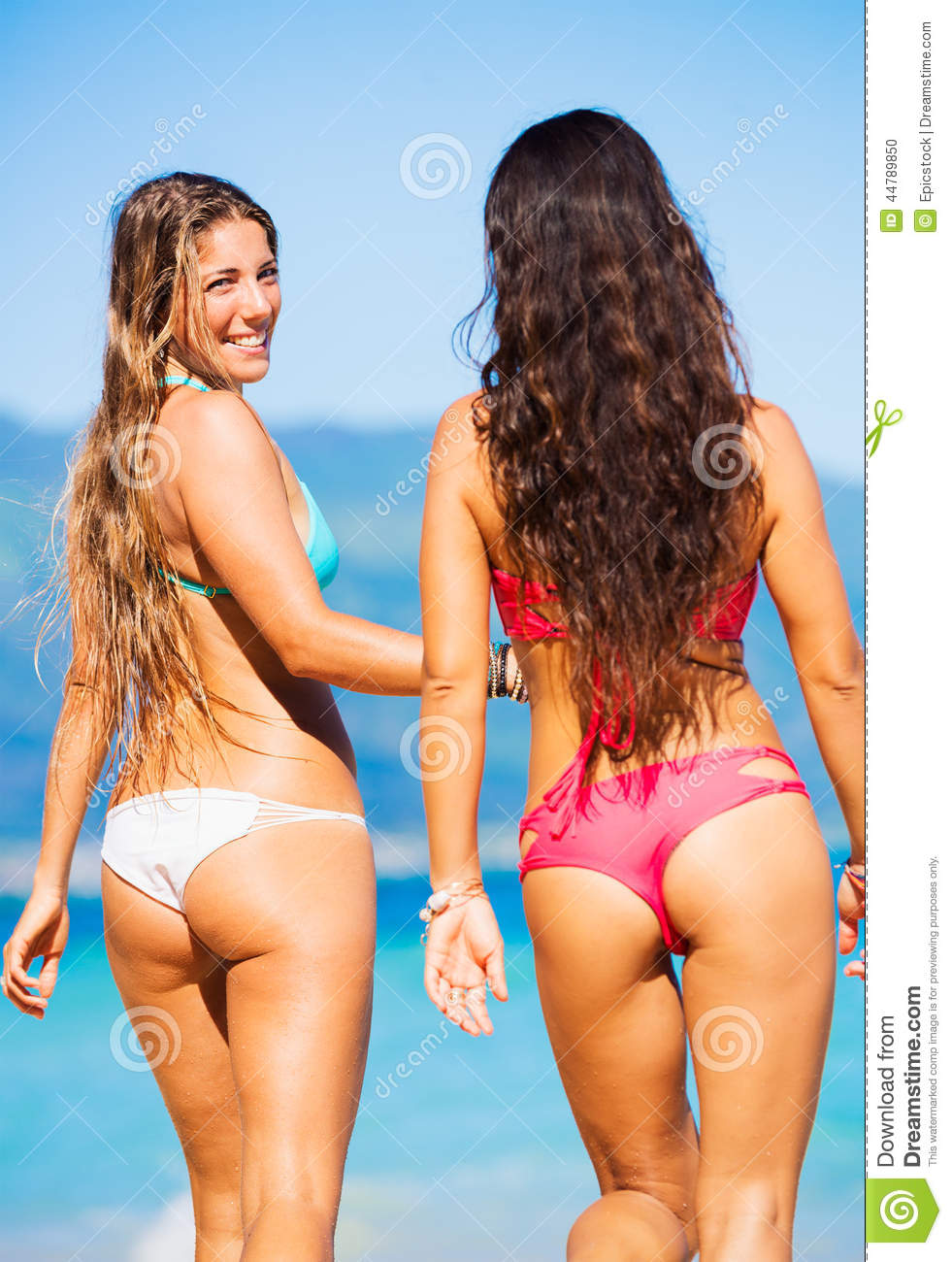 Beautiful young girls at beach