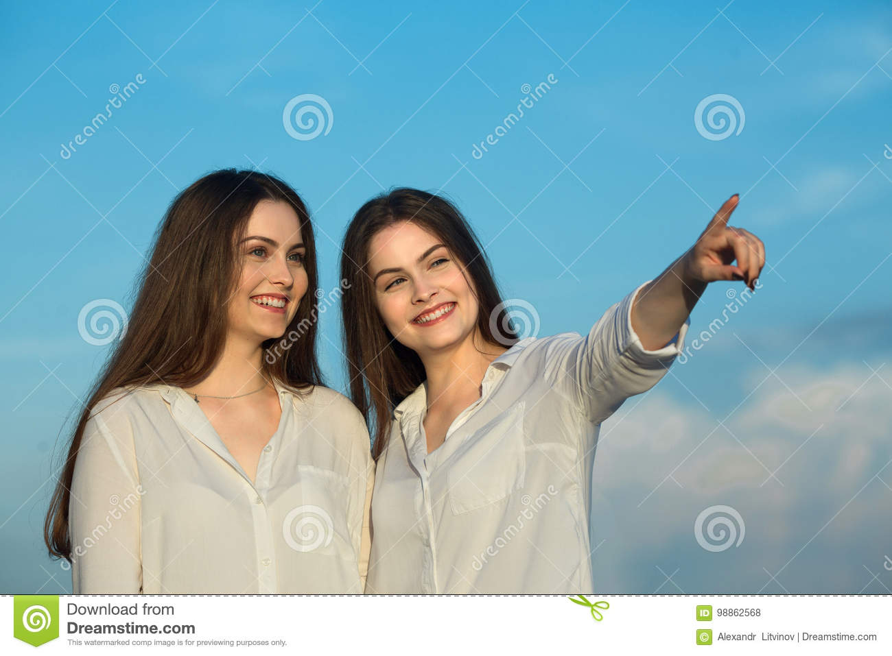 f2679b63a28 Two Beautiful Young Sisters Twin Girls Stock Photo - Image of love ...