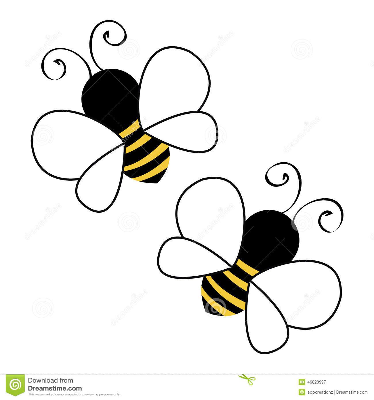 Two Bees Flying Stock Vector - Image: 46820997