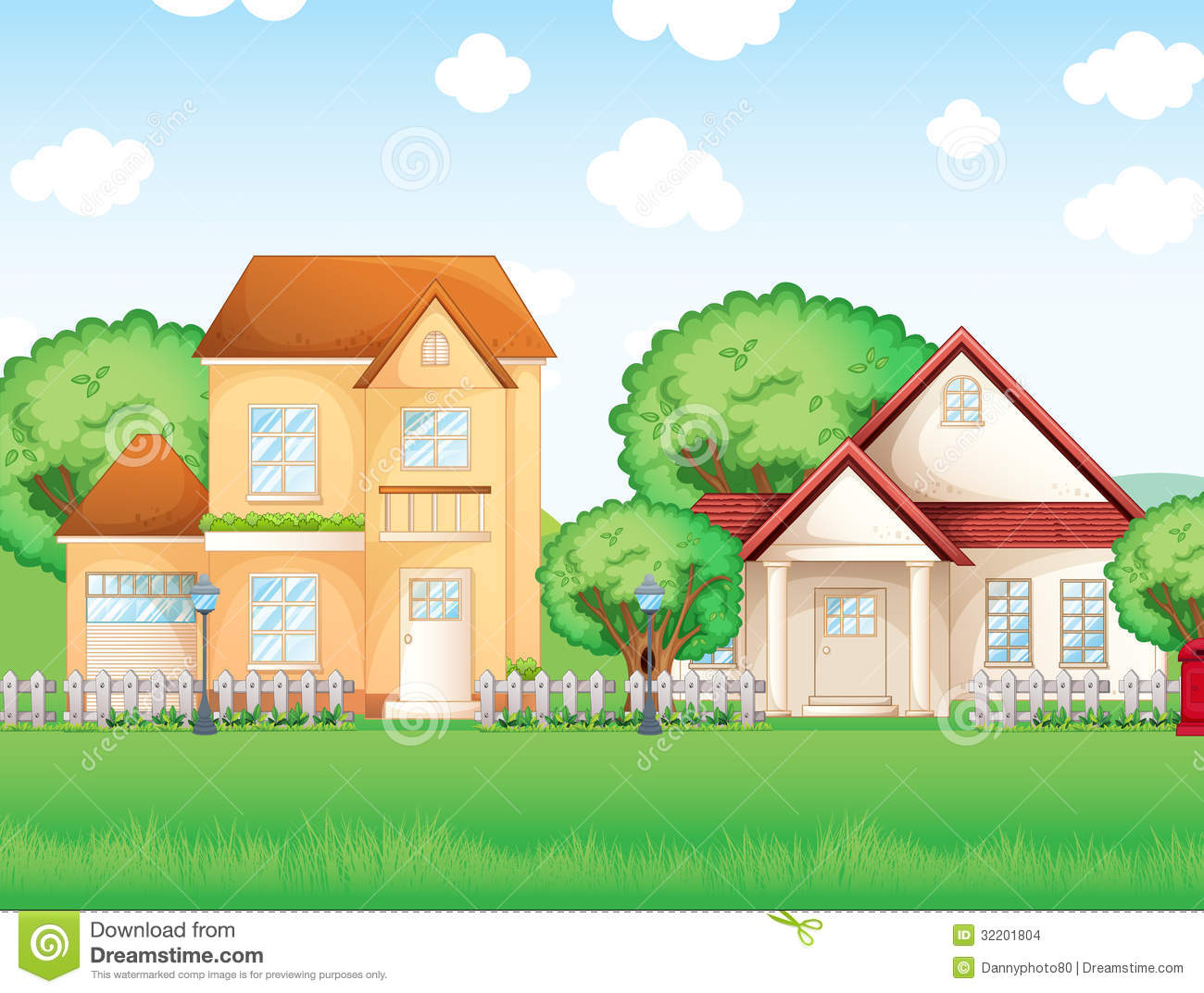 Two Big Houses Stock Images - Image: 32201804