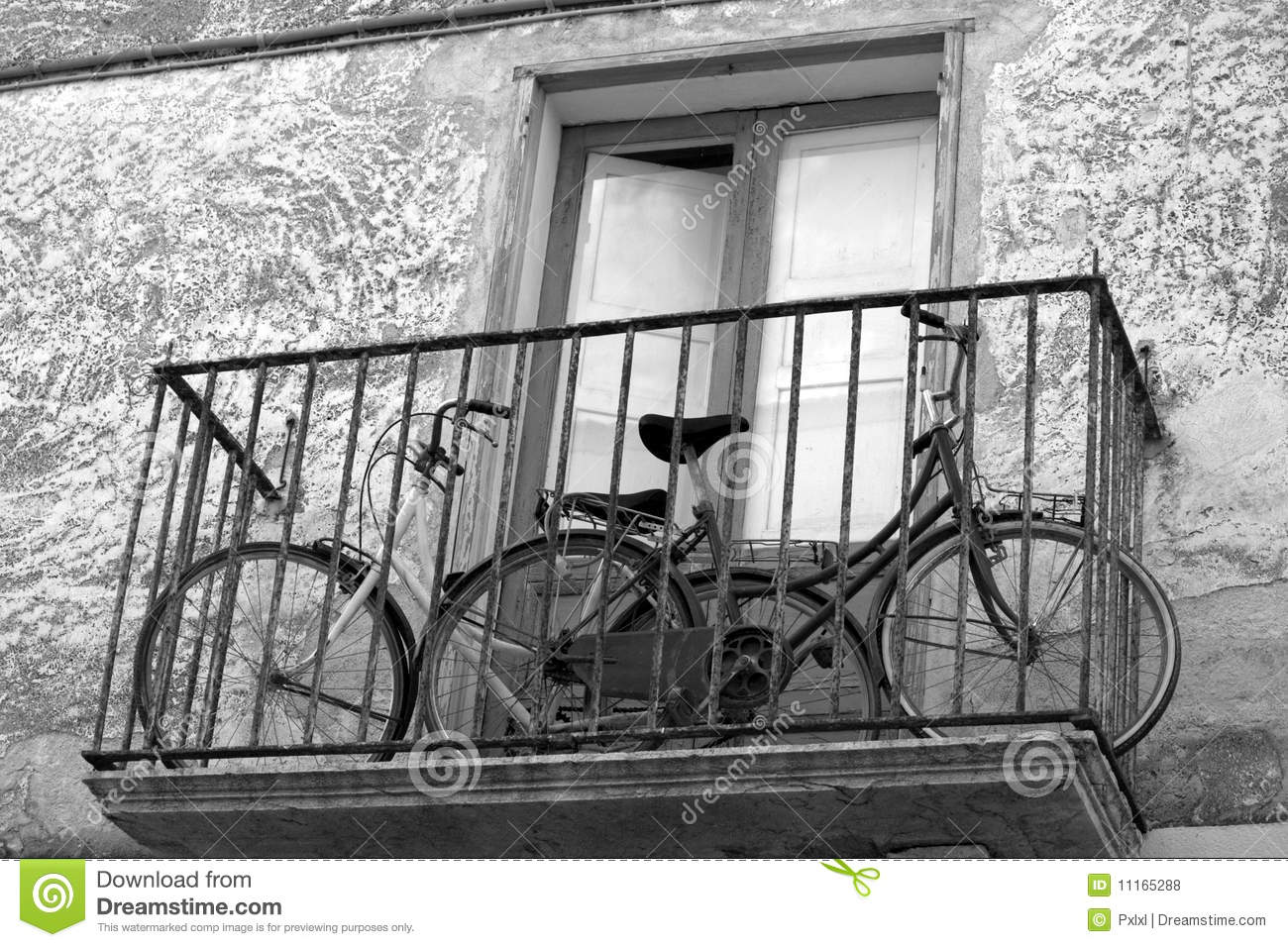 Two Bikes On A Balcony Royalty Free Stock Photos Image