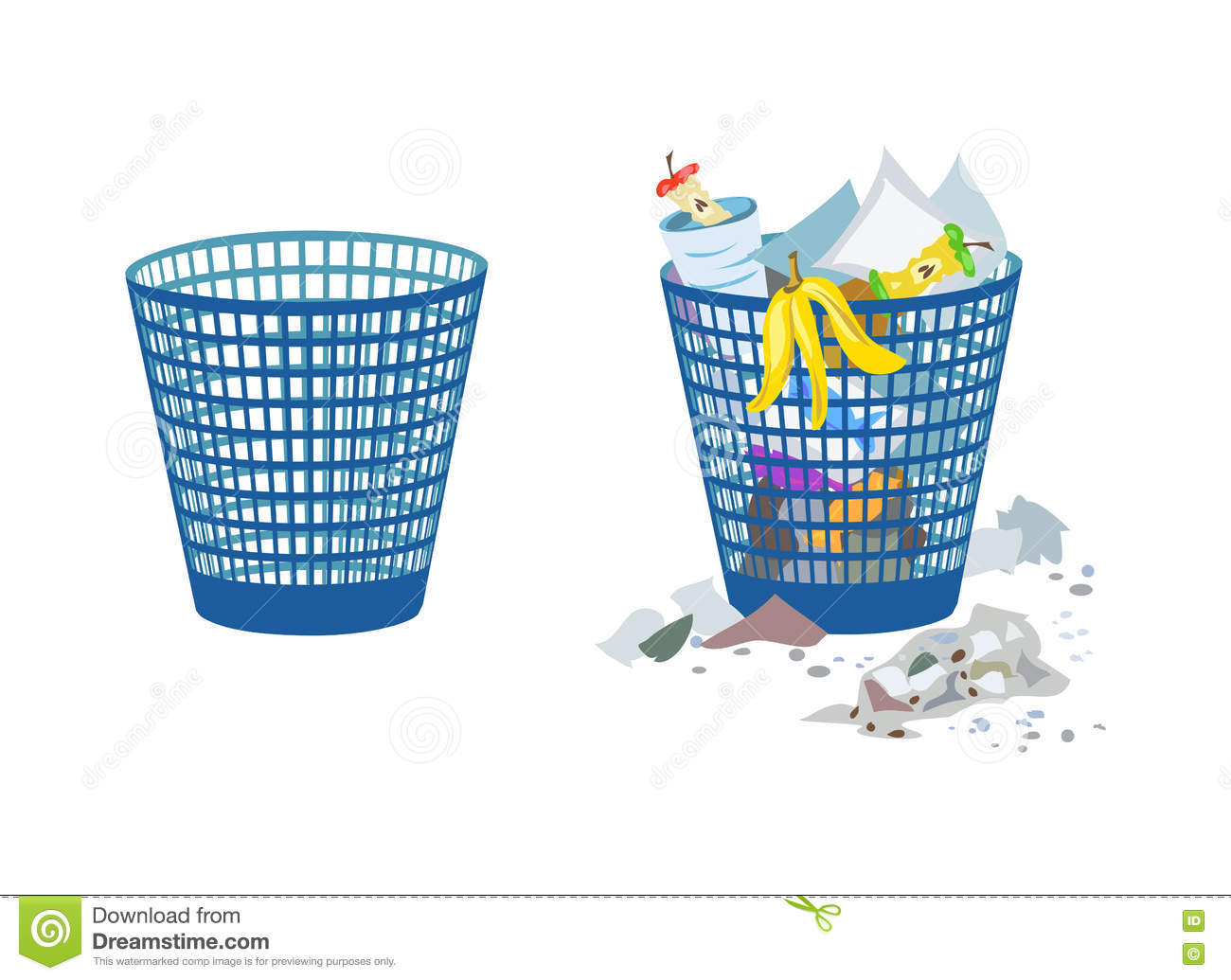 Two bins, full and empty stock vector. Illustration of ...