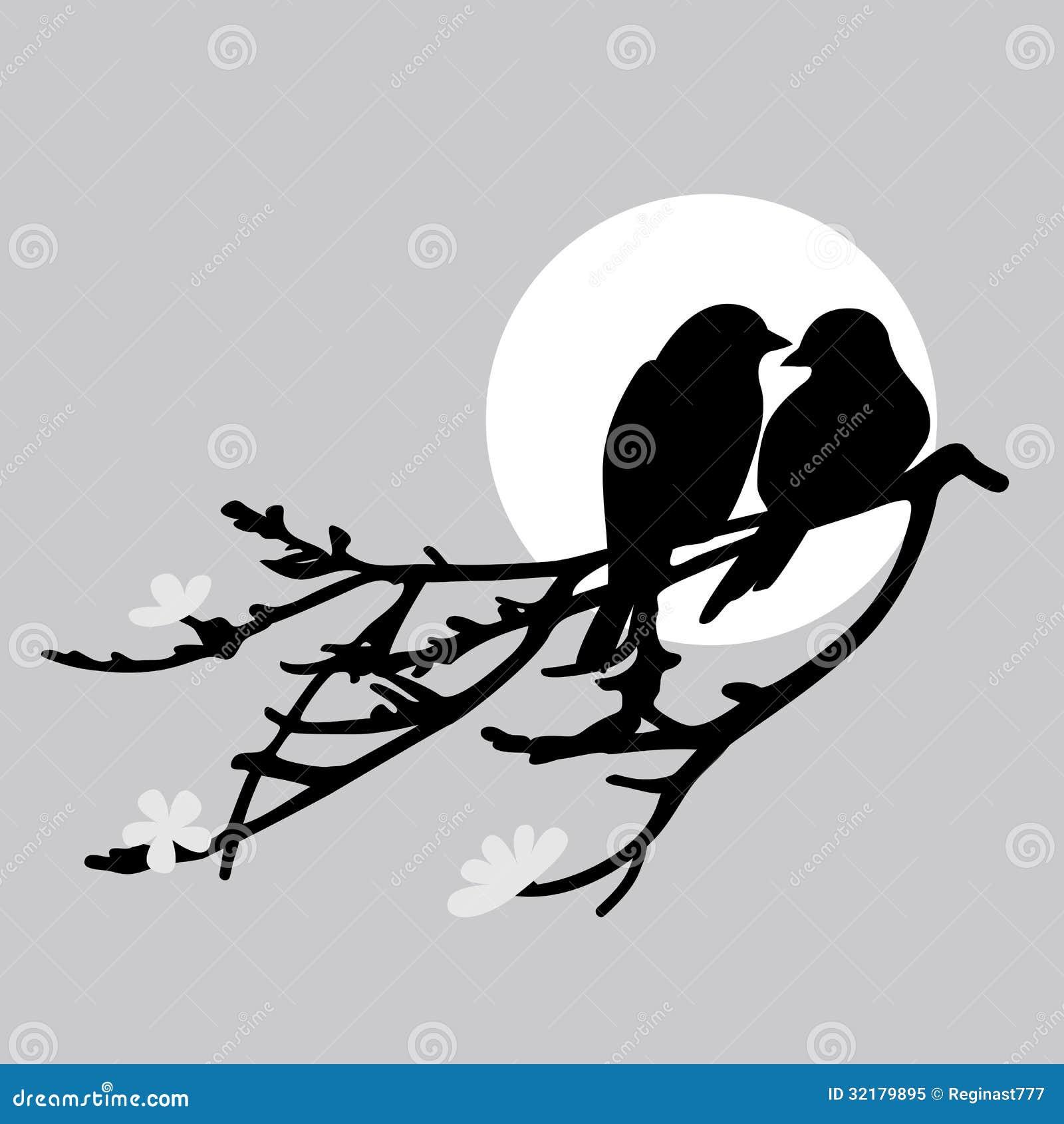 Two Birds Stock Vector Illustration Of Leaf Branch 32179895