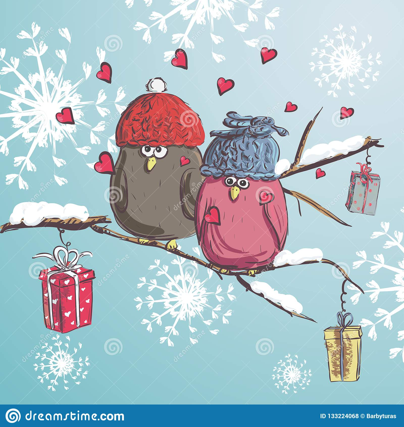 Two Birds Sitting On The Branch With Snow. Winter Cartoon