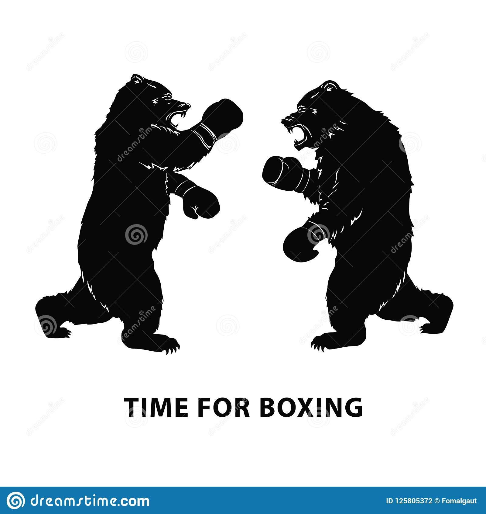 two black bears fighting. silhouettes of a wild animals in boxing gloves.  growling beasts. art design for sport event. vector illu stock vector -  illustration of nature, company: 125805372  dreamstime.com