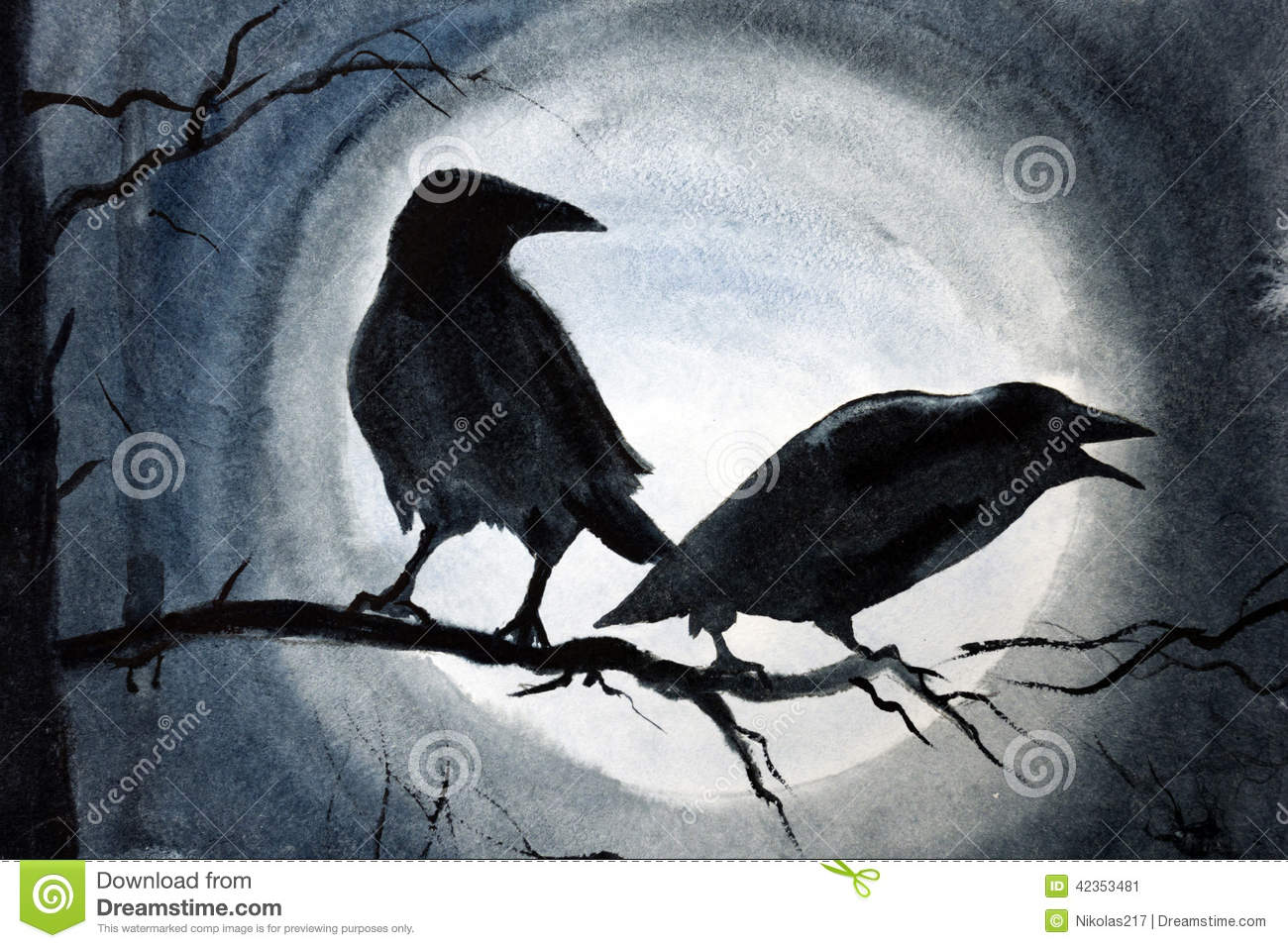 Two Black Crows On A Branch Stock Illustration