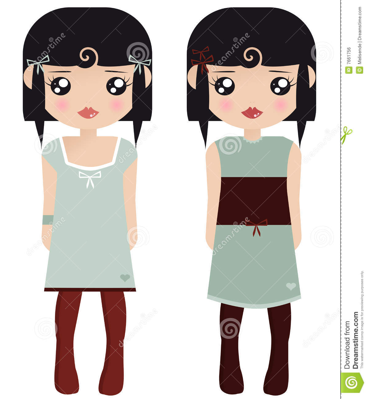 Two Black Haired Female Paper Dolls