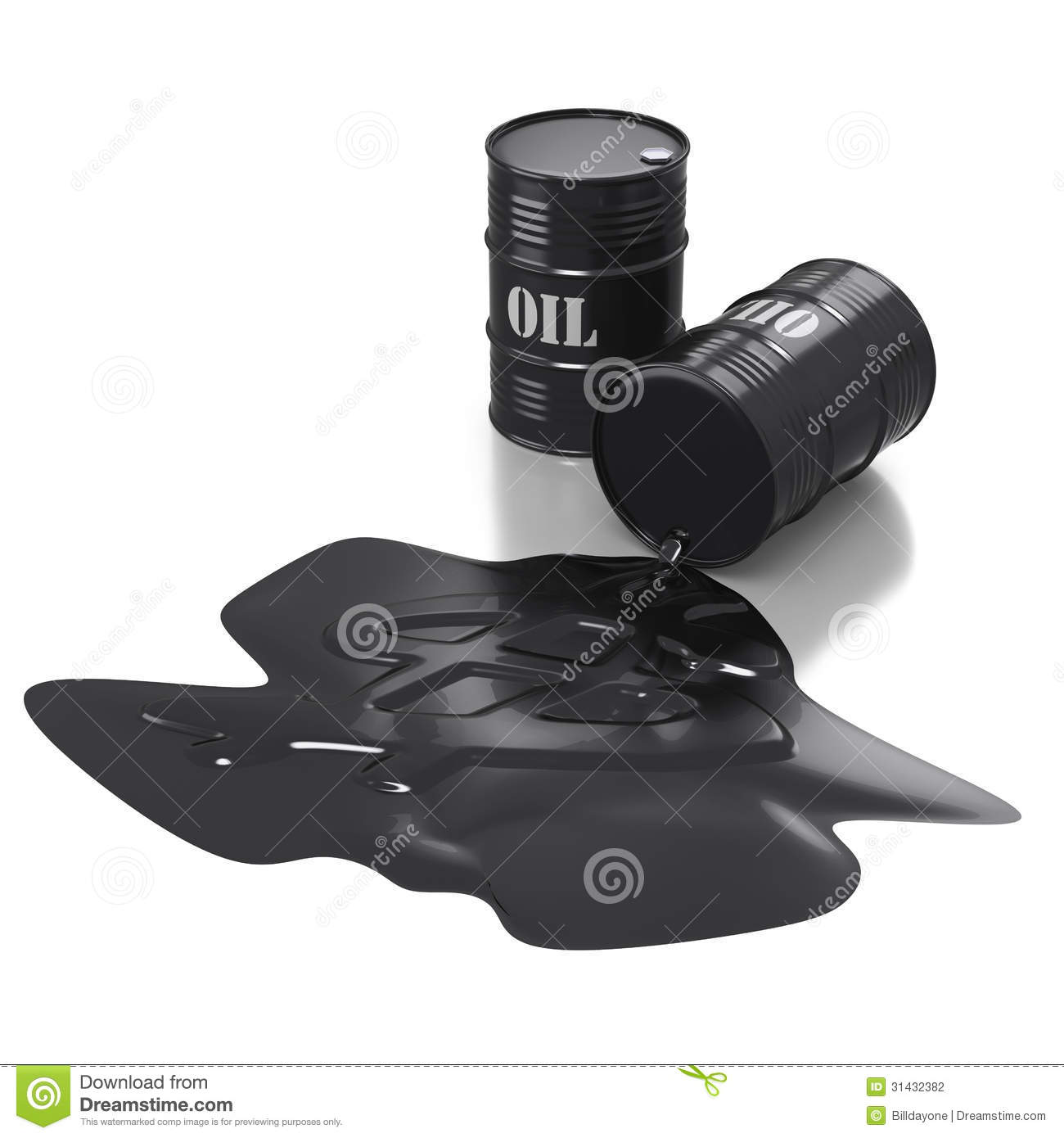 Two Black Oil Barrels With Puddleon White Background Stock ...  Two Black Oil B...
