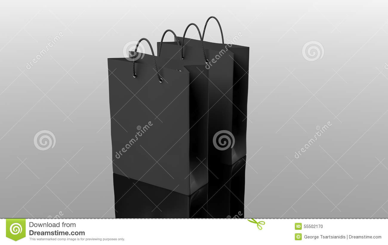Two Black Paper Shopping Bags Stock Illustration - Image: 55502170