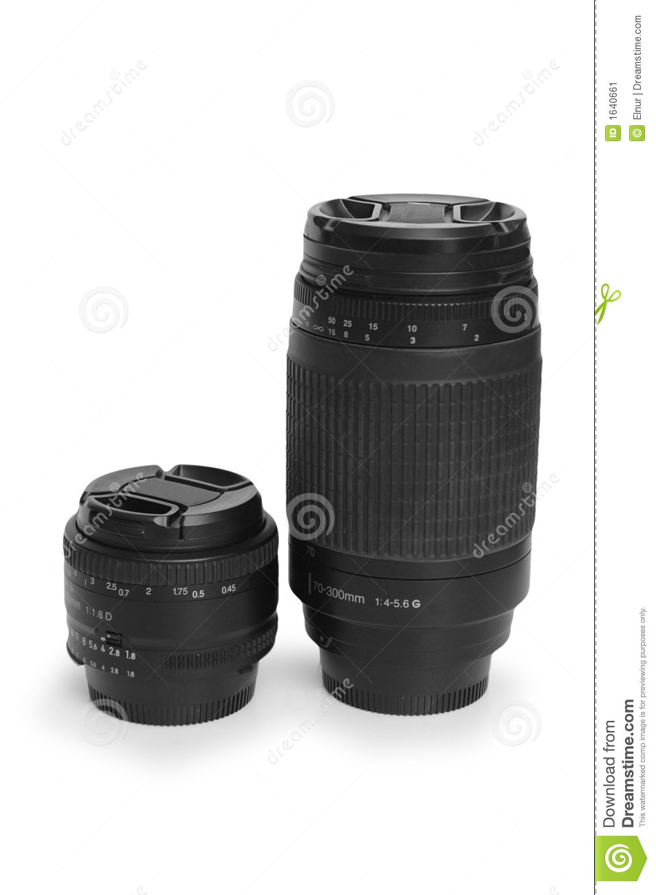 Two black photo lenses isolated