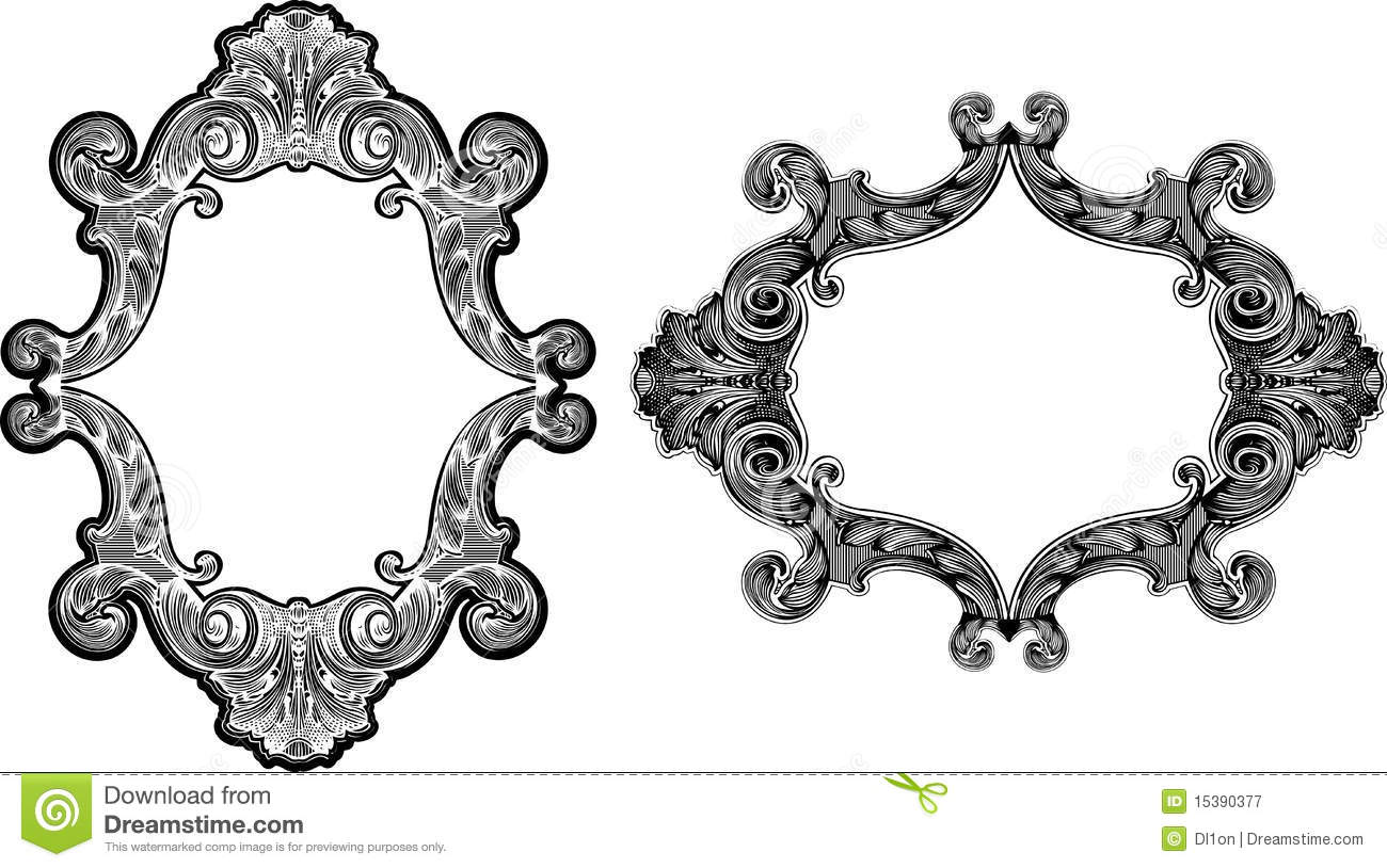 two black and white baroque frames
